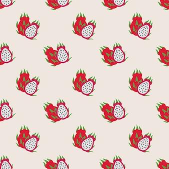 Nahtloses hintergrundbild bunte tropische frucht drachenfrucht pitaya