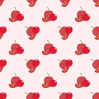 Nahtloses hintergrundbild bunte tropische frucht rote kapstachelbeerphysalis