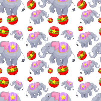 Nahtloses hintergrunddesign mit elefanten auf bällen