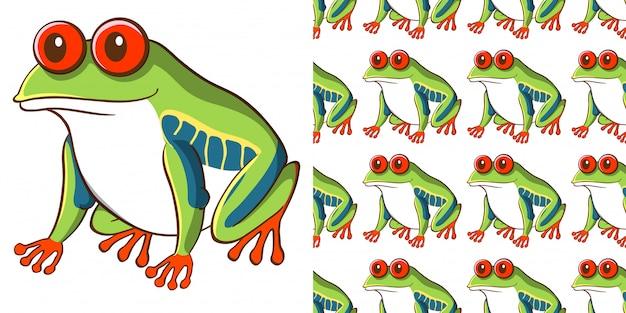 Nahtloses hintergrunddesign mit grünem frosch
