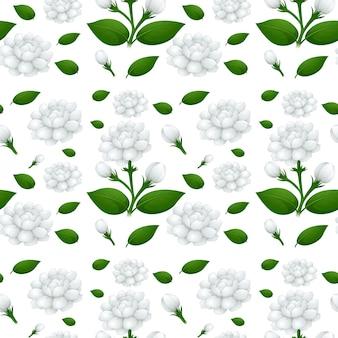 Nahtloses hintergrunddesign mit jasminblüten