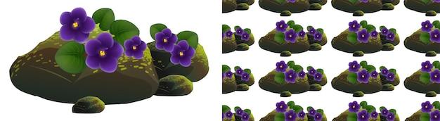 Nahtloses hintergrunddesign mit lila blüten auf moossteinen