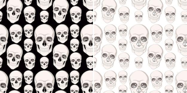 Nahtloses hintergrunddesign mit menschlichen schädeln