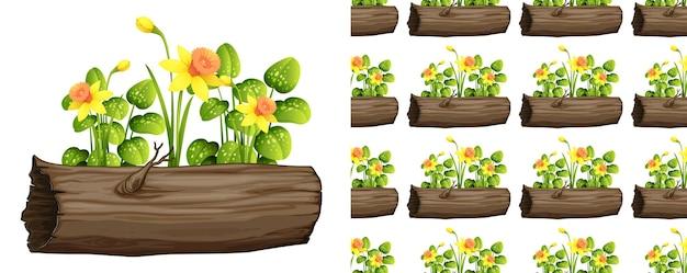 Nahtloses hintergrunddesign mit narzissenblumen auf baumstamm