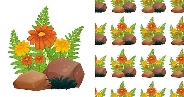 Nahtloses hintergrunddesign mit orange gerberablumen auf stein