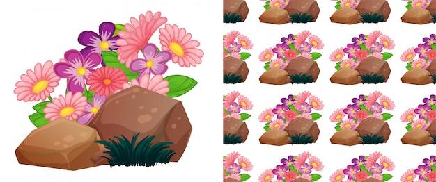 Nahtloses hintergrunddesign mit rosa gerberablumen auf felsen