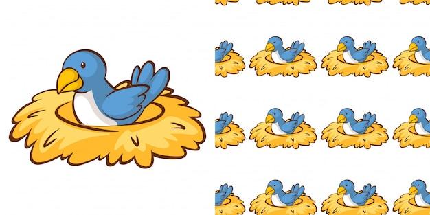 Nahtloses hintergrunddesign mit vogel im nest