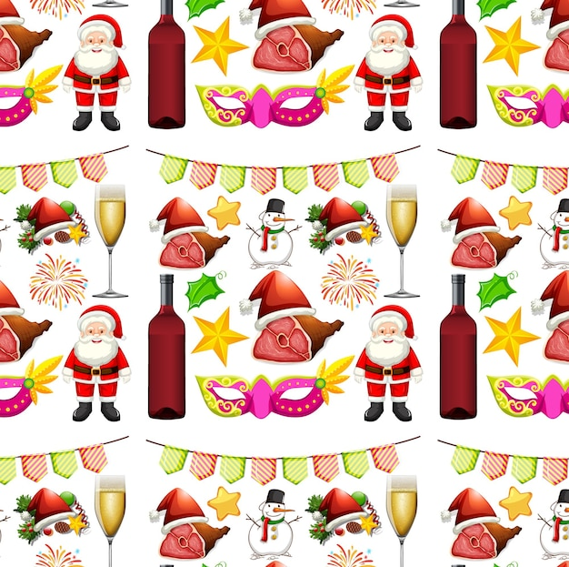 Nahtloses hintergrunddesign mit weihnachtsmann und dekorationen