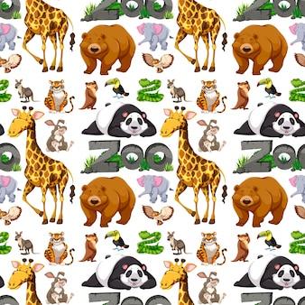 Nahtloses hintergrunddesign mit wilden tieren