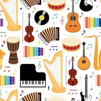Nahtloses hintergrundmuster der musikinstrumente mit farbigen vektorikonen, die trommel-mandolinen-gitarrentastatur-harfen-saxophon-xylophon-schallplatten-violine und ziehharmonika im quadratischen format darstellen