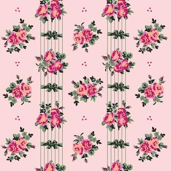 Nahtloses hintergrundmuster der romantischen gartenblume