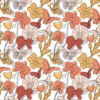 Nahtloses hintergrundmuster von orchideen und schmetterlingen mit verschiedenen abstrakten formen der handgezeichneten linie. trendfarbillustration auf weiß. konturzeichnung.