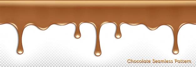 Nahtloses horizontales muster von tropfender geschmolzener milchschokolade