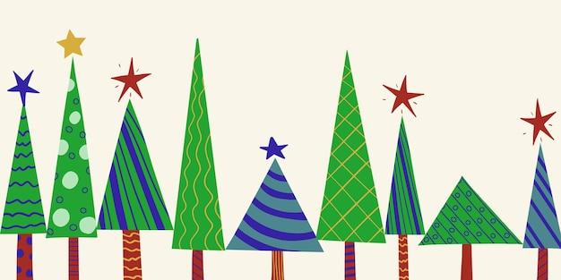 Nahtloses horizontales neujahrsmuster von stilisierten verzierten weihnachtsbäumen
