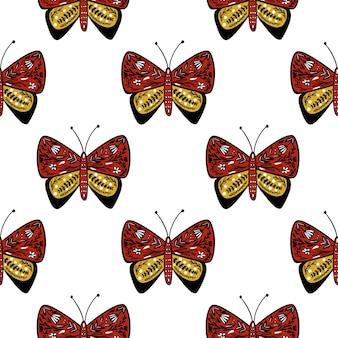 Nahtloses insektenisoliertes muster mit rotem und gelbem volksschmetterling
