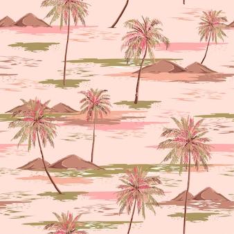 Nahtloses inselmuster des süßen sommers landschaft mit bunter palme