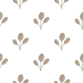 Nahtloses isoliertes gekritzelmuster mit einfachen zweigsilhouetten. brown-naturverzierung auf weißem hintergrund. abbildung auf lager. vektordesign für textilien, stoffe, geschenkpapier, tapeten.