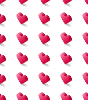 Nahtloses isometrisches vektormuster auf lager, geometrische flache rosa herzen