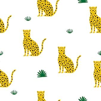 Nahtloses jaguar-muster.