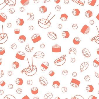 Nahtloses japanisches essensmuster, sushi und brötchen.