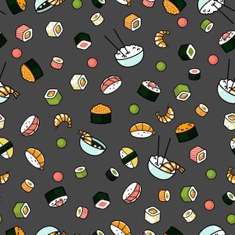 Nahtloses japanisches nahrungsmittelmuster, sushi und brötchen, grauer hintergrund