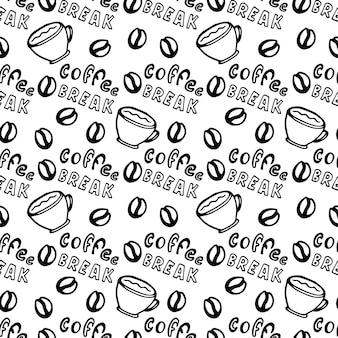 Nahtloses kaffeemuster mit kaffeebohnen, schalen und beschriftung - kaffeepause.
