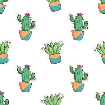 Nahtloses kaktusmuster mit farbigem gekritzelstil