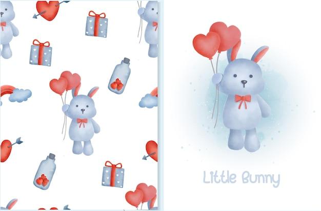 Nahtloses kaninchenmuster mit grußkarte im aquarellstil.
