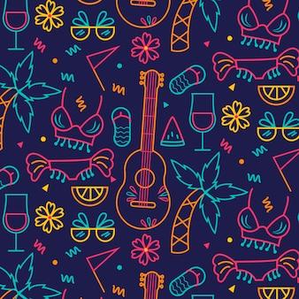 Nahtloses karnevalsmuster der ukulelegitarre und -pflanzen