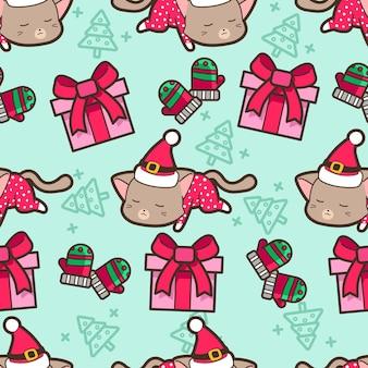 Nahtloses katzen- und weihnachtsgeschenkmuster