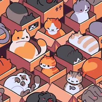 Nahtloses katzenmuster cartoon tiere hintergrund ideal für stofftapeten