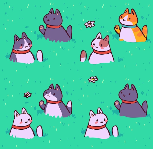 Nahtloses katzenmuster cartoon tiere hintergrund ideal für stofftapetenverpackung