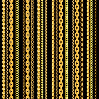 Nahtloses kettenmuster. goldkettenelemente, endlose gegenstände des goldenen schmucks für halsketten und ketten auf schwarzem hintergrund