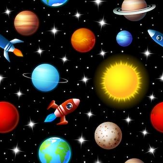 Nahtloses kinderdesign des hellen farbigen hintergrunds von raketen, die durch einen sternenhimmel im weltraum zwischen einer vielzahl von planeten in der galaxie in einem reise- und erkundungskonzept fliegen