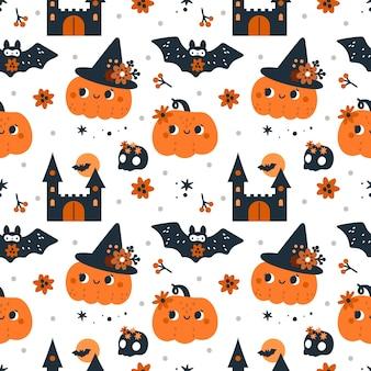 Nahtloses kindisches muster für fröhliches halloween mit kürbisgeistern, fledermäusen und magischen elementen