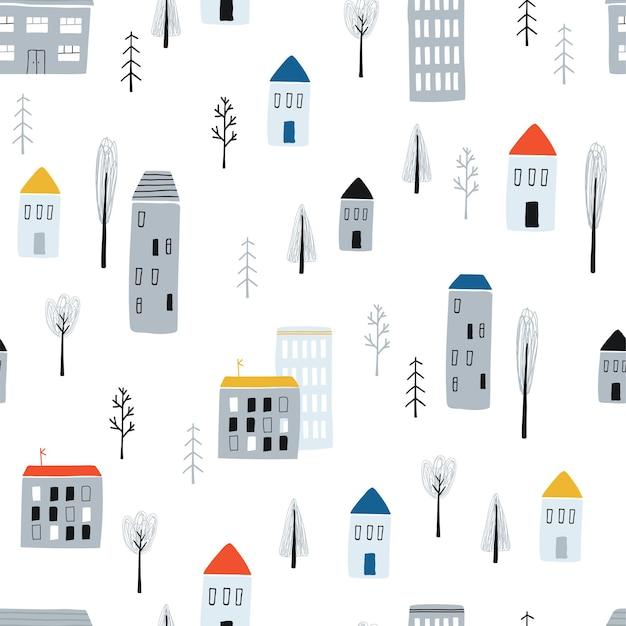 Nahtloses kindisches muster mit handgezeichneten häusern auf weißem hintergrund. einfache kinderstadt für stoff, textilien, tapeten, geschenkpapierdesign. vektorillustration