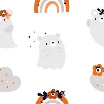 Nahtloses kindliches muster mit niedlichen geistern, bärentieren und regenbogen im skandinavischen stil