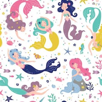 Nahtloses kindliches muster mit niedlichen meerjungfrauen kreative kinderbeschaffenheit für textilverpackungs-kleidungsillustration der stoffverpackung