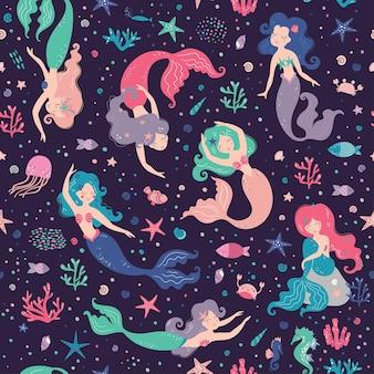 Nahtloses kindliches muster mit niedlichen meerjungfrauen kreative kindertextur für textil-tapetenbekleidung in stoffverpackung