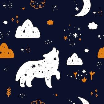 Nahtloses kindliches muster mit niedlicher wolfstier-silhouette, sternen und mond