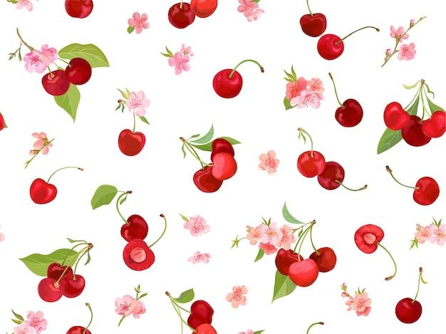 Nahtloses kirschmuster mit sommerbeeren, früchten, blättern, blumenhintergrund. vektorillustration im aquarellstil für frühlingsabdeckung, tapetenstruktur, verpackungshintergrund, vintage-verpackung