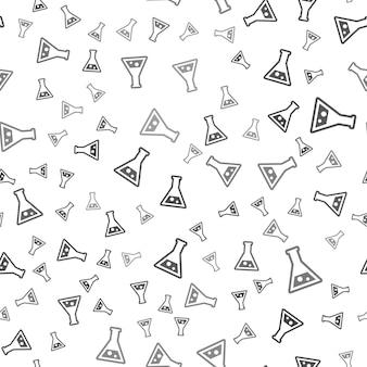 Nahtloses labormuster auf weißem hintergrund. einfaches kreatives design des laborsymbols. kann für tapeten, webseitenhintergrund, textilien, druck-ui/ux verwendet werden