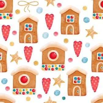Nahtloses lebkuchenmuster mit leutehäusern für weihnachtsfeiertag