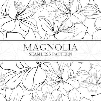 Nahtloses lineares muster mit blumen magnolien.