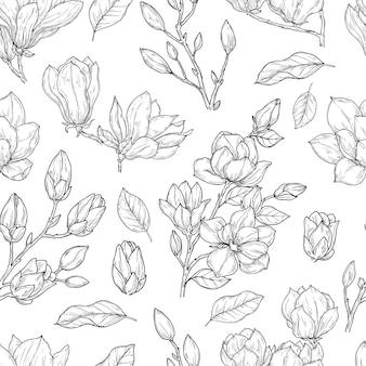 Nahtloses magnolienmuster.