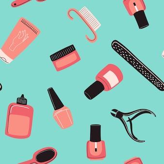 Nahtloses maniküre-werkzeugmuster nagelkunstkonzept mit polnischer handcreme nagelhautzange nagelknipser