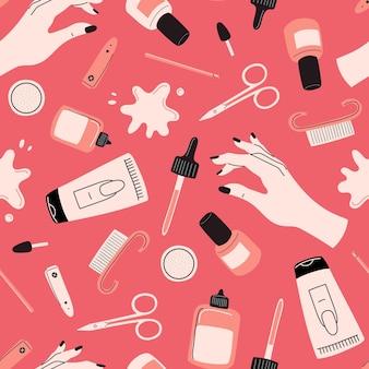 Nahtloses maniküre-werkzeugmuster nagelkunstkonzept mit polnischer schere nagelhautzangenbürste