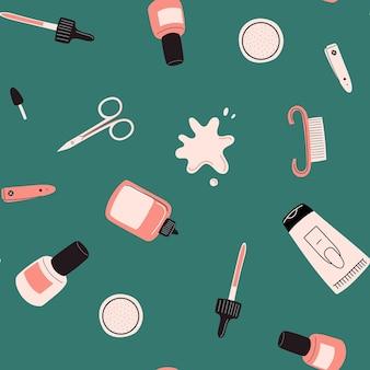 Nahtloses maniküre-werkzeugmuster nagelkunstkonzept mit polnischer scherenhand