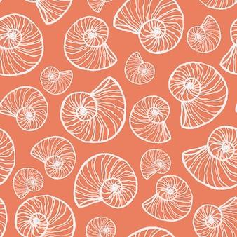 Nahtloses marinemuster mit muschel. sommerzeit, meer, handgezeichnete unterwasser-muscheln