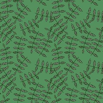 Nahtloses mit blumenmuster auf grünem hintergrund. natur tapete. botanik textur.